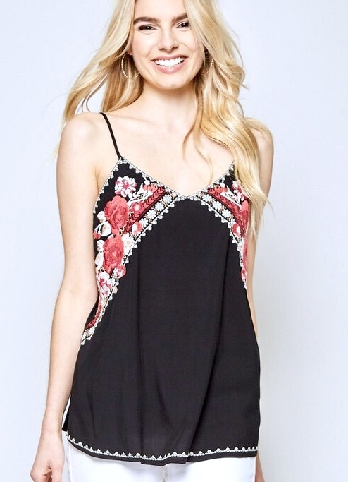 Black Spaghetti Strap Tank Top wqith Floral Embroidery Detail