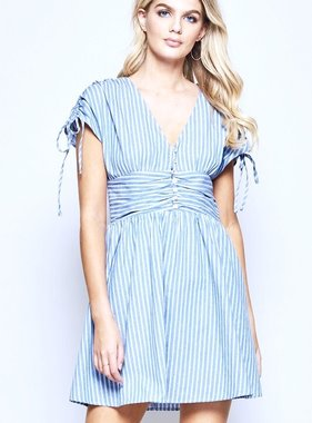 Blue Striped Dress with Ruched Waist