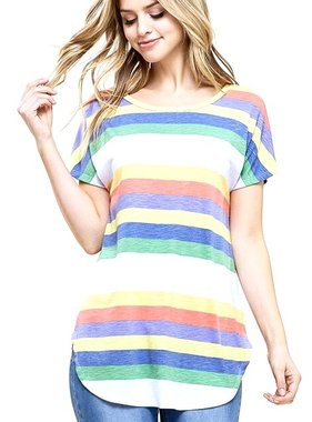 Rainbow Multi Striped SS Top