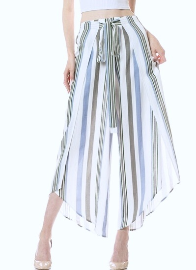 Blue and Grey Striped Pants with Front Tie and Side Slit