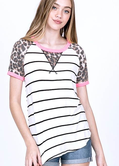 Ivory Striped Top with Leopard and Pink Trim