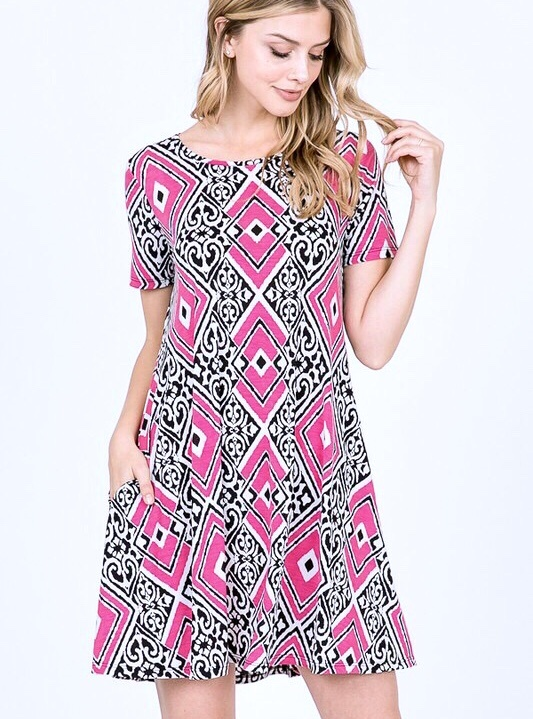 Black and Fuchsia Multi Print Tunic Dress