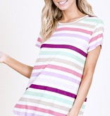 Oatmeal Multi Color Striped SS Top