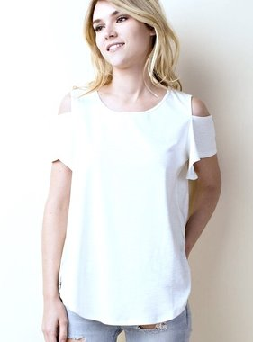 Cream Short Sleeve Cold Shoulder Top