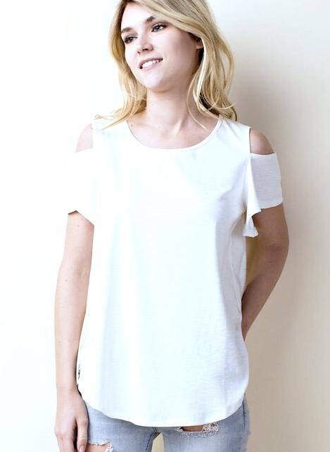 Cream Short Sleeve Cold Shoulder Top