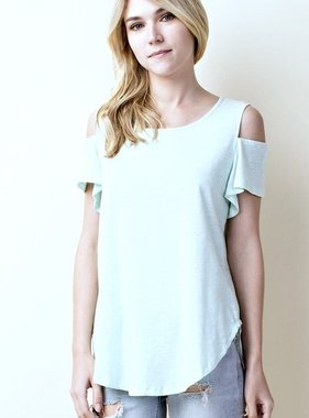 Mint Short Sleeve Cold Shoulder Top