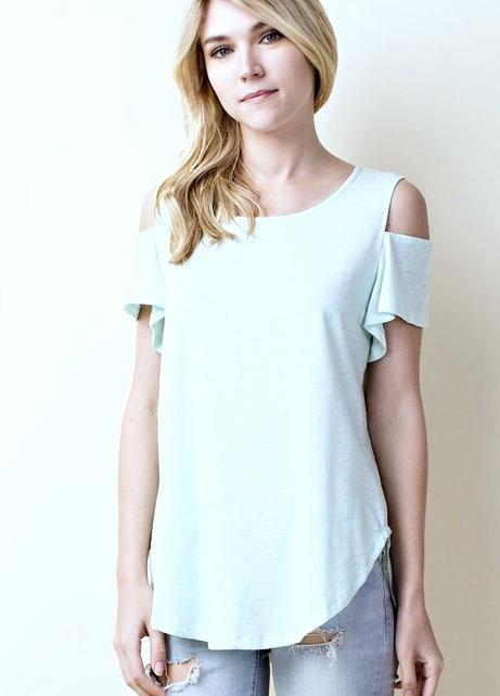 Mint Short Sleeve Cold Shoulder Top