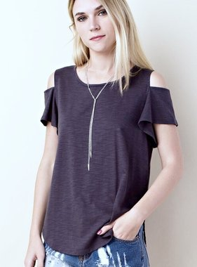 Charcoal Short Sleeve Cold Shoulder Top
