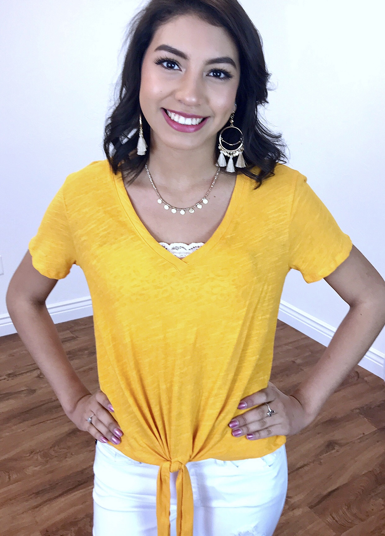 Tie Front Top Yellow
