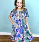 Pink Blue Mix Swing Dress
