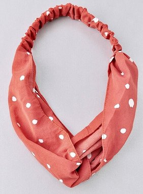 Polka Dot Loop Knot Head Band Rust