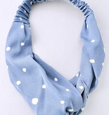 Polka Dot Loop Knot Head Band Blue