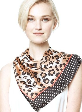 Leopard Print Edge Block Hair Scarf