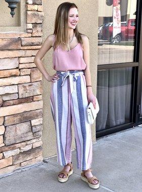 Light Pink Mixed Striped Pants