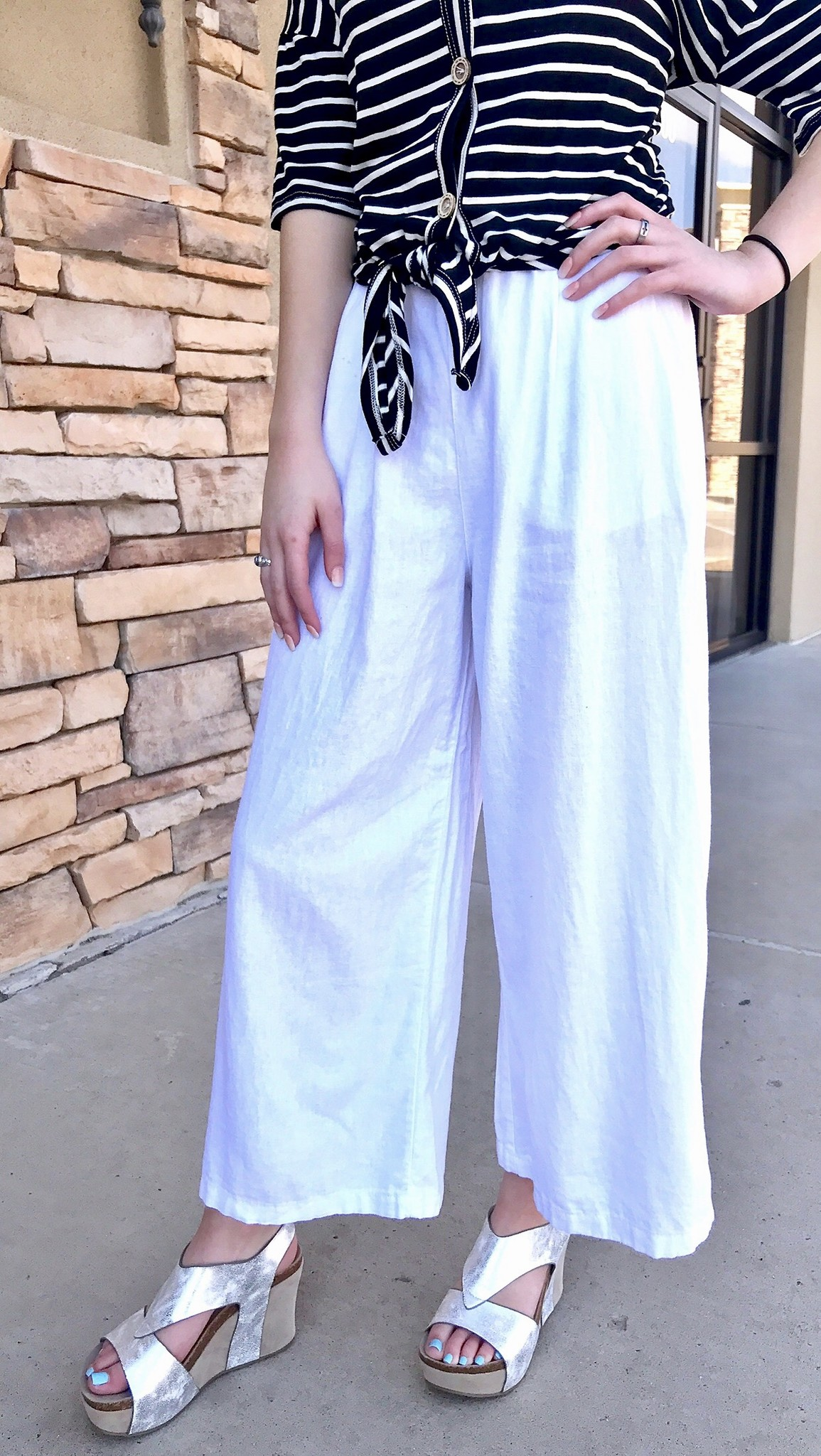 White Wide Leg Pants with Belt
