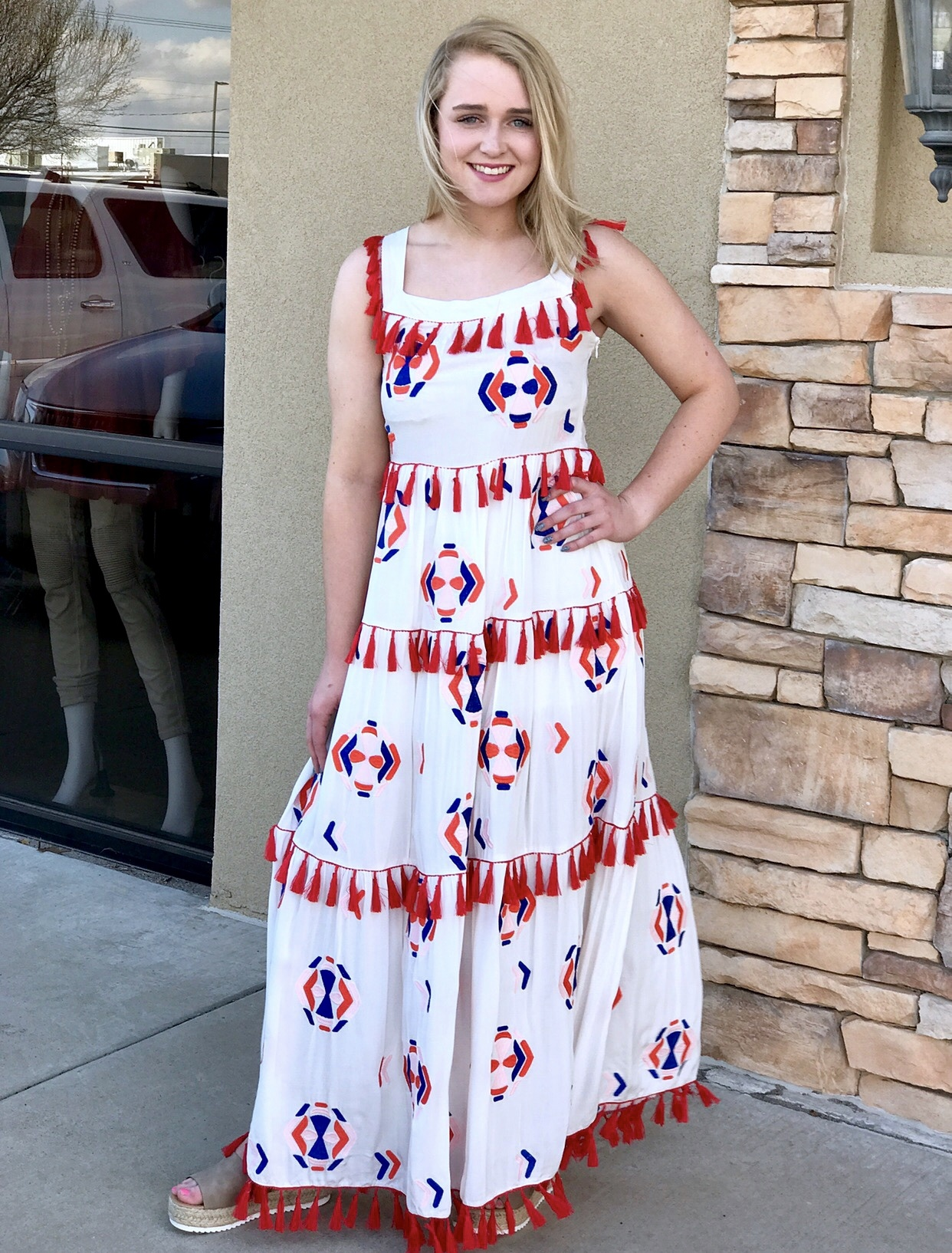 Ivory Embroidered Maxi Dress with Layered Red Tassels