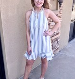 Grey Striped Flounce Dress with Ruffle