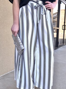 White and Black Striped Pant with Front Tie and Side Slit