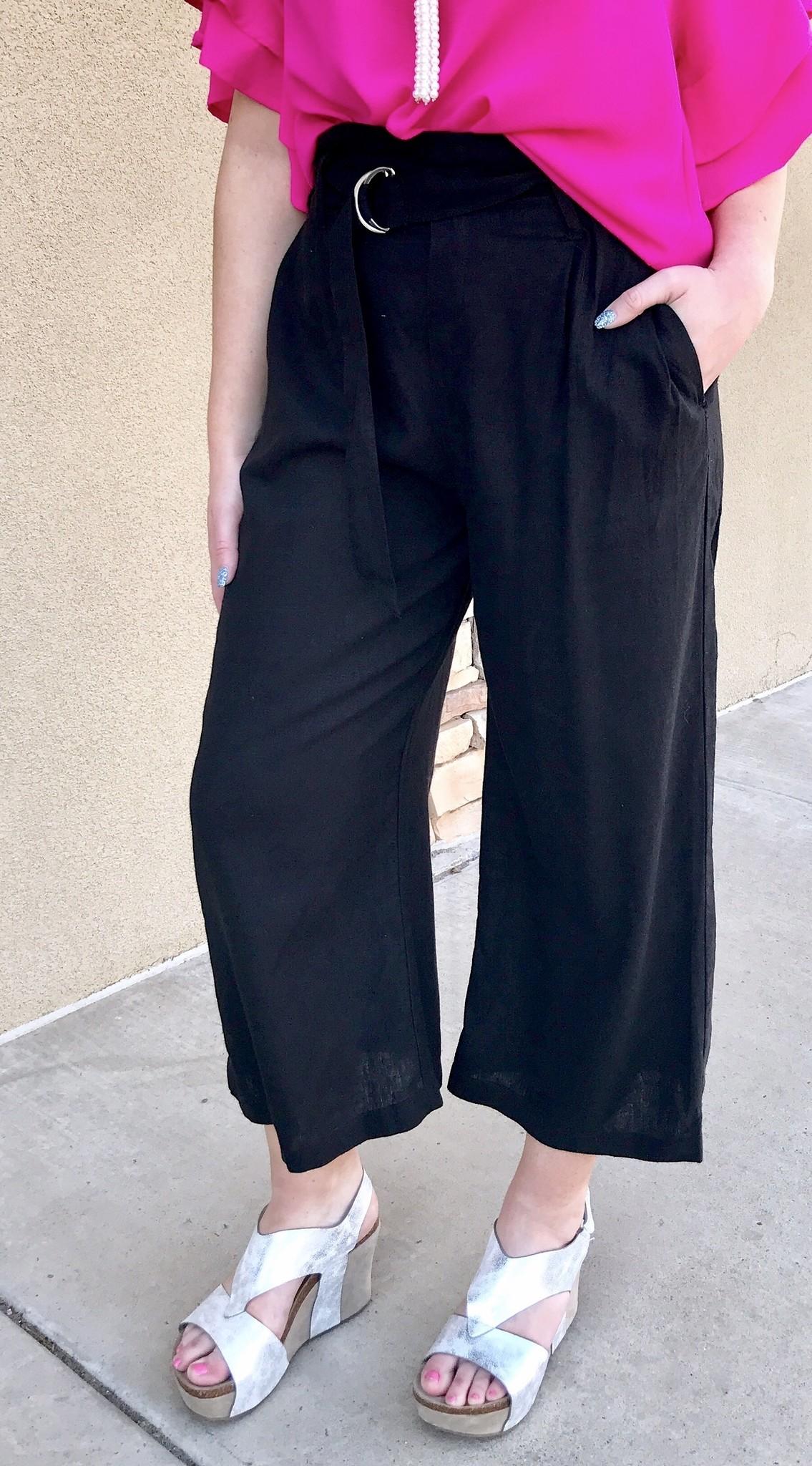Black Wide Leg Pants with Belt