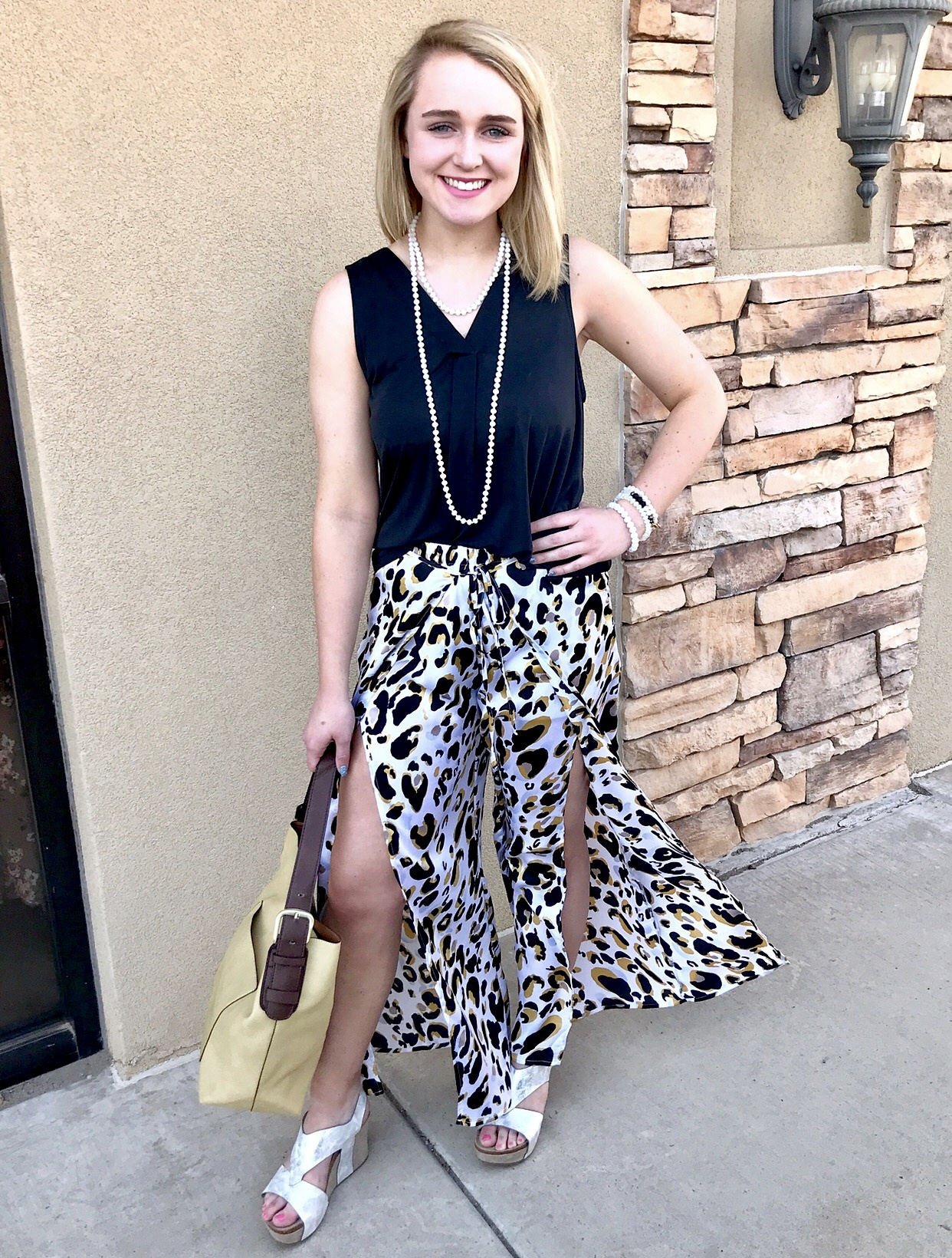 White and Mustard Leopard Overlay Pants