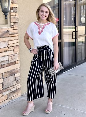 Black/ivory Fitted Waist Wide Leg Pant