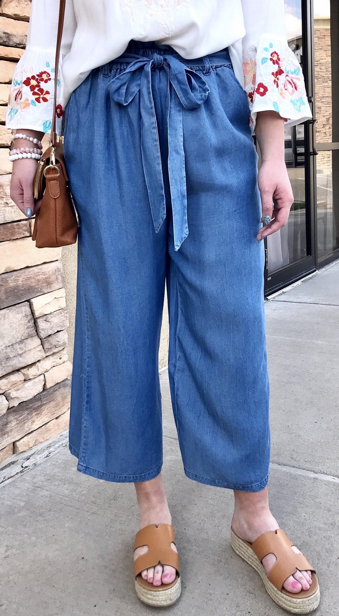 Denim Blue Tie Front Wide Leg Pants