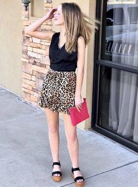 Leopard Flowy Shorts with Belt Tie