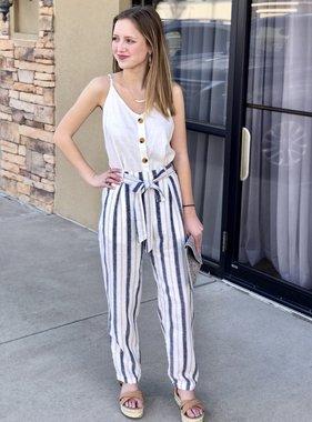 Navy and Natural Striped Pants