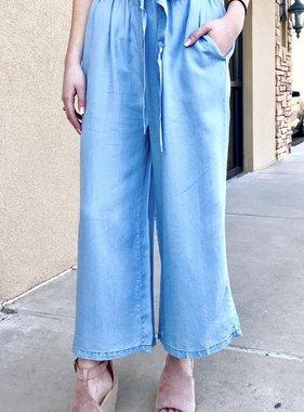 Light Denim Blue Tie Front Wide Leg Pants