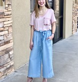 Light Denim Blue Tie Front Wide Leg Pants