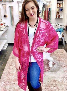 Fuchsia Floral Lace Kimono