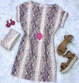 Blush Snake Skin Cuffed SS Tunic Dress