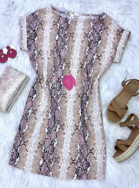 Blush Snake Skin Cuffed SS Tunic Dress