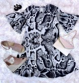 Grey Leopard Ruffle Sleeve Dress