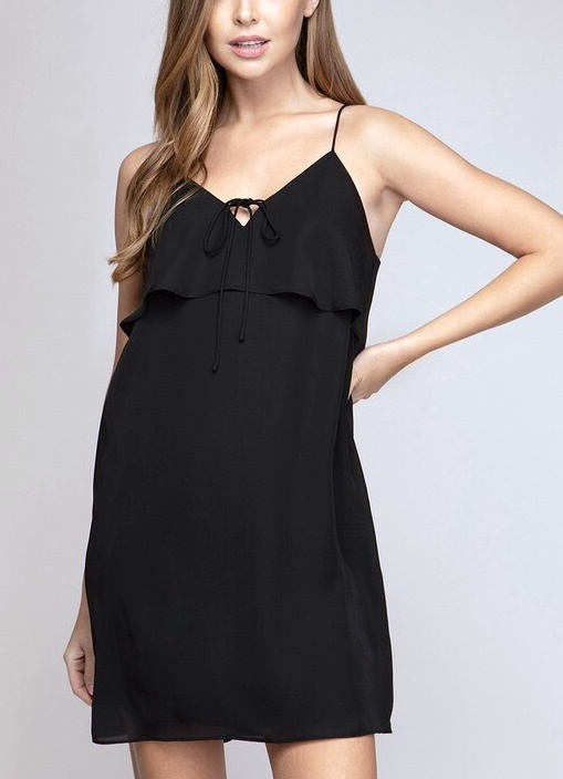Black Double Layered Front Bust Dress