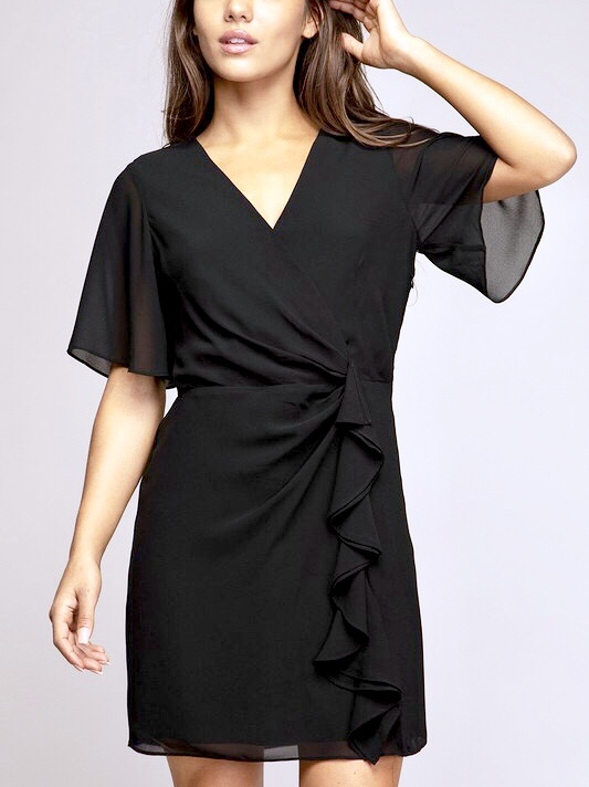 Black Side Ruched Ruffle Dress
