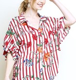 Red Striped Floral Button Up Top