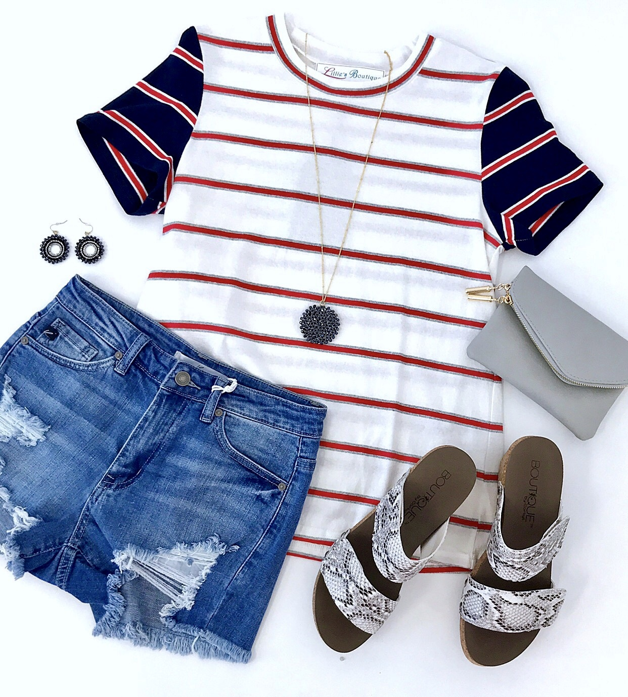 White And Red Striped Navy SS Top