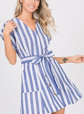 Royal Striped Button Detail Mini Dress
