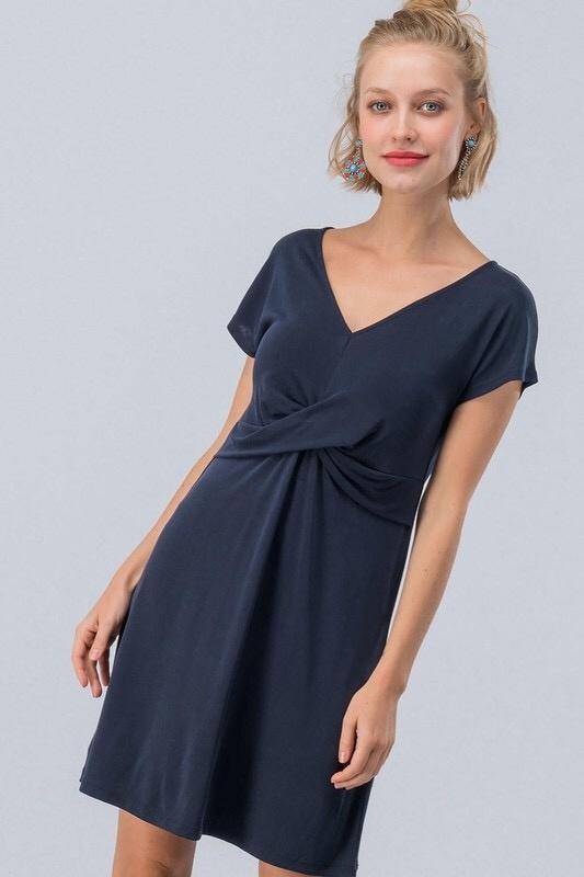 Black Front Twist Short Sleeve Mini Dress