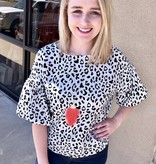 Leopard Top with Short Puffed Sleeve White