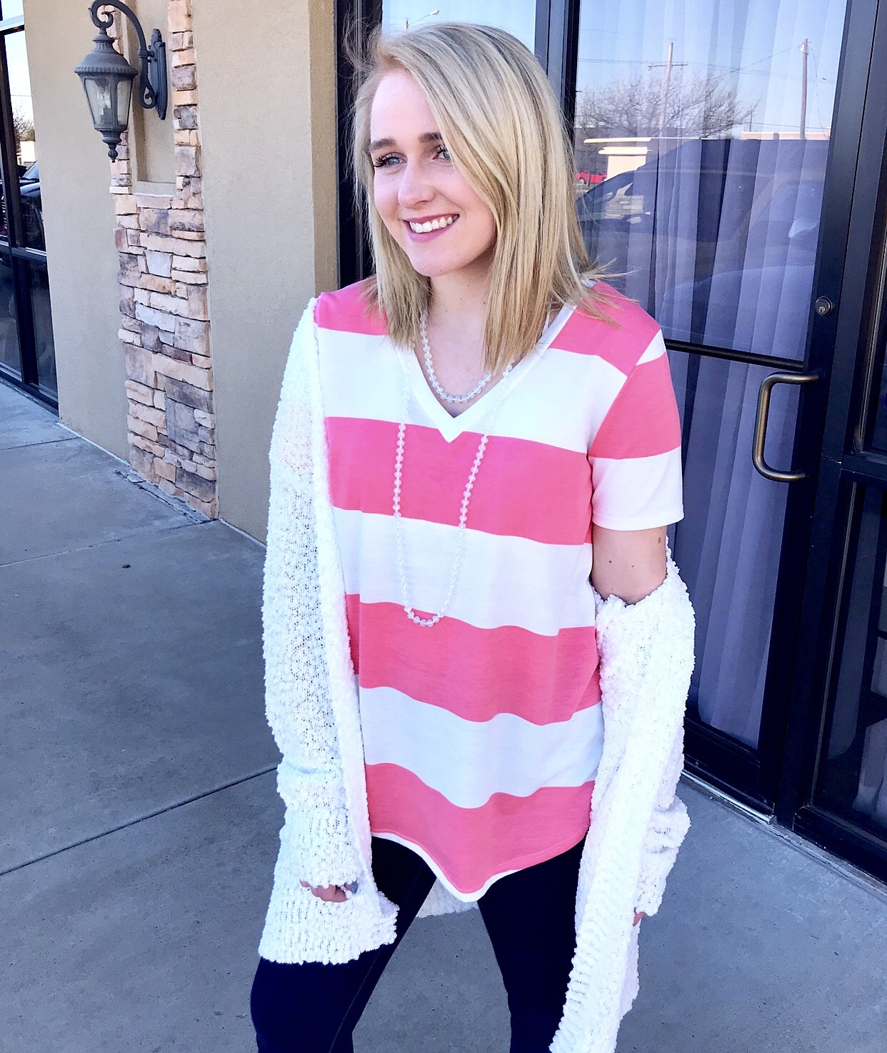 Pink and White Striped V-Neck Top