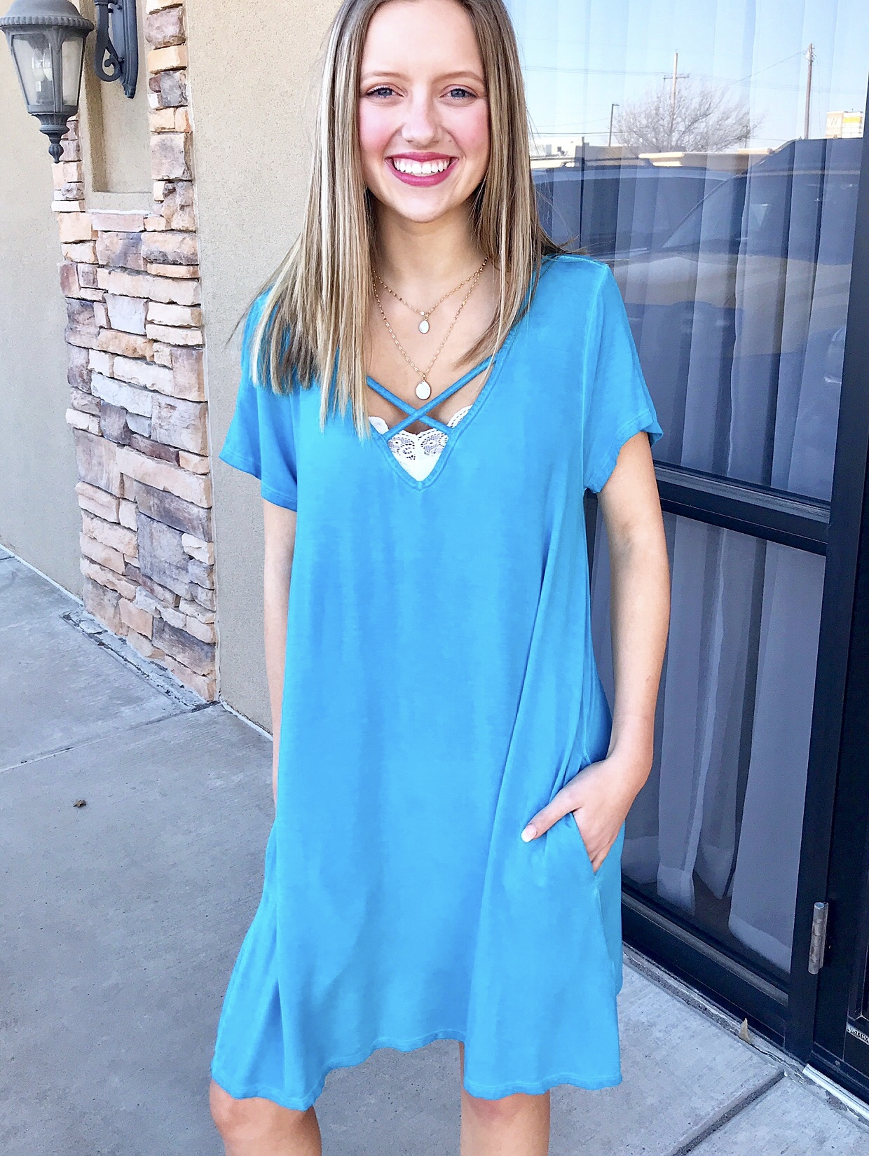 Cyan Blue Crossed V-Neck Dress