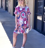 Multi - Colored Geo Patterned Ruffle Sleeve Dress