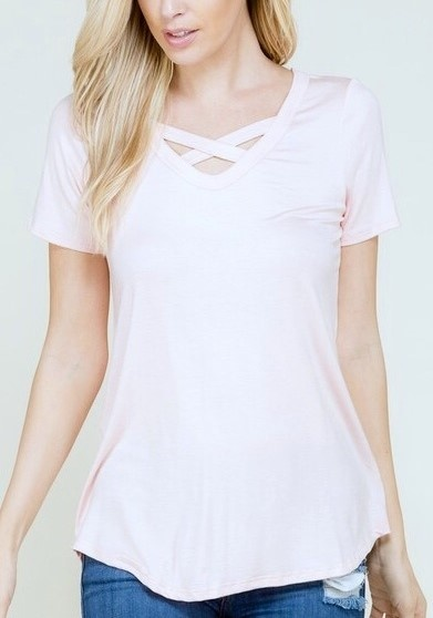 Blush SS Criss Cross Top