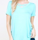 Mint SS Criss Cross Top