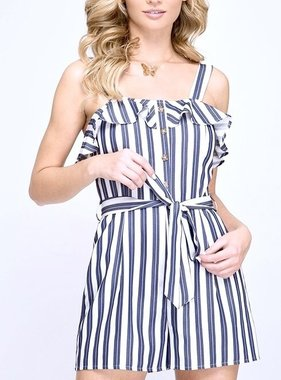 Navy Striped Button Down Romper
