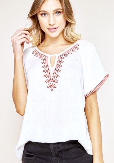White Embroidered Key Hole SS Top
