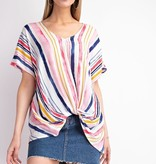 Fuchsia/Navy Striped Twisted Top