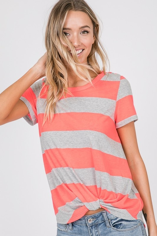 Neon Orange Striped Knotted Top